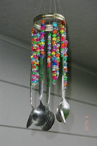 Make a Wind Chime with spoons and beads~