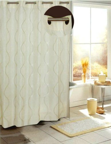EZ On No Hooks Needed! 70 by 84-Inch Fabric Shower Curtain, X-Long ...