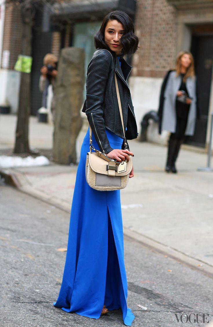 Blue Maxi Dress Leather Jacket Street Style Style Pinterest