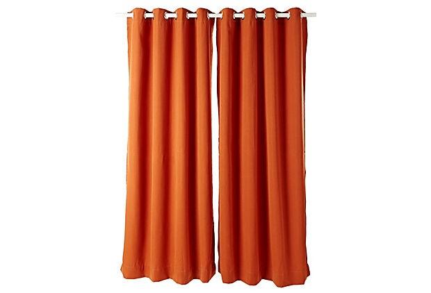 Sunbrella Outdoor Curtain Panel, Rust
