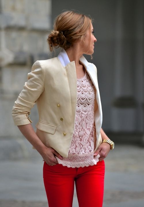 Lace top, cream color blazer and red jeans