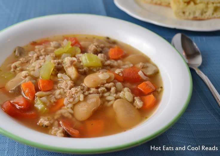 Hot Eats and Cool Reads: Turkey, Barley and Vegetable Soup Recipe