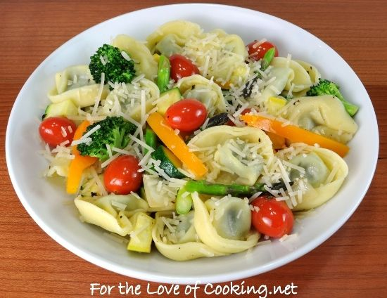 Spinach and cheese tortellini primavera----the veggies were perfectly ...