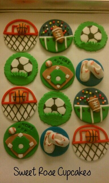 "Sports Themed Cupcake Toppers. BambooMN 3.9"" Decorative ..."