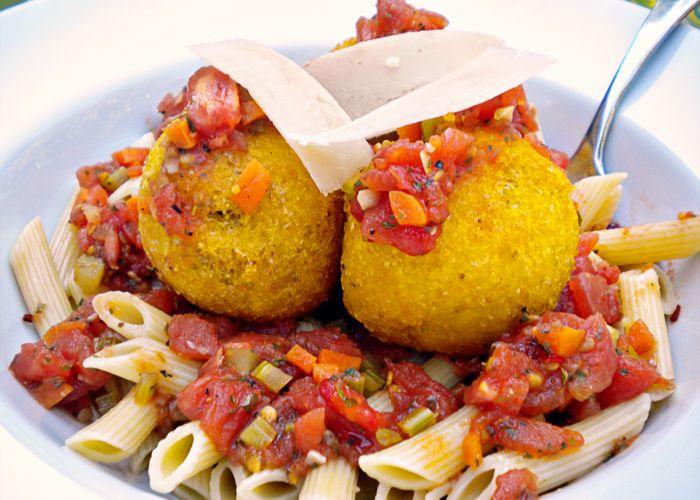 Inspiration: Meatball-stuffed polenta croquettes + Pasta.