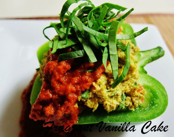 Raw Polenta Stuffed Bell Peppers | raw | Pinterest