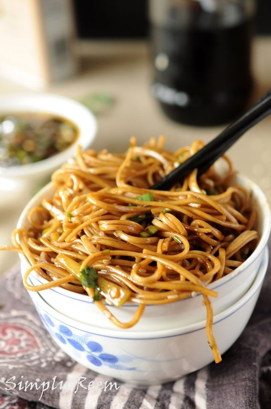 Soba Noodles, ginger/scallion sauce - made with angel hair - added ...