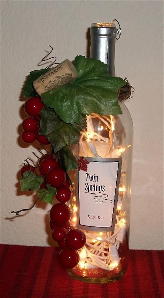 Bing wine bottle crafts with lights walkin 39 in a for Lighted wine bottle craft