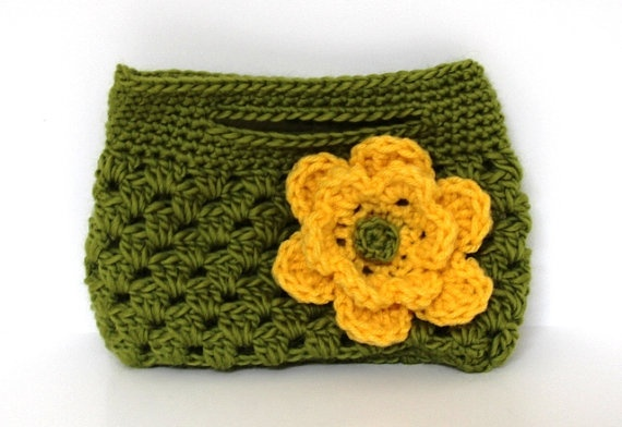 Small Crocheted Purse/Bag w/Flower Crochet Pinterest