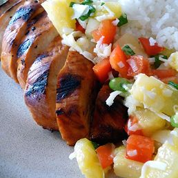 Caribbean Chicken with Pineapple Salsa. I did not make the rice called ...