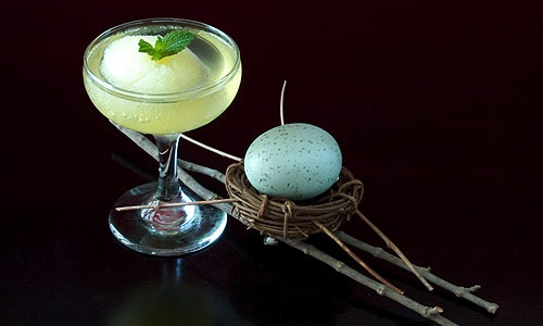 gin pineapple mint sorbet champagne cocktail