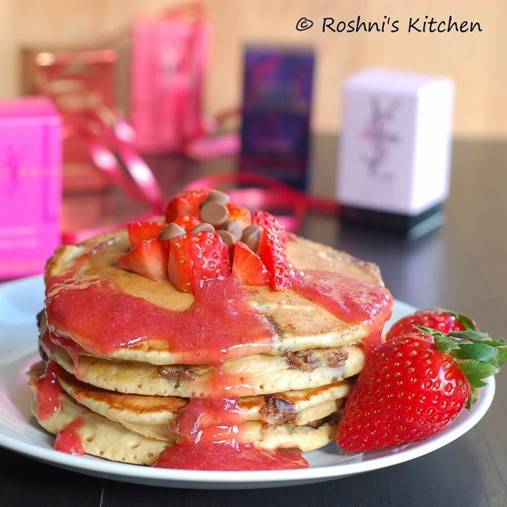 Whole Wheat Chocolate Chip Pancake with Strawberry Sauce. Follow her ...
