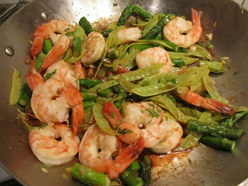 Spring Shrimp with Snow Peas and Asparagus