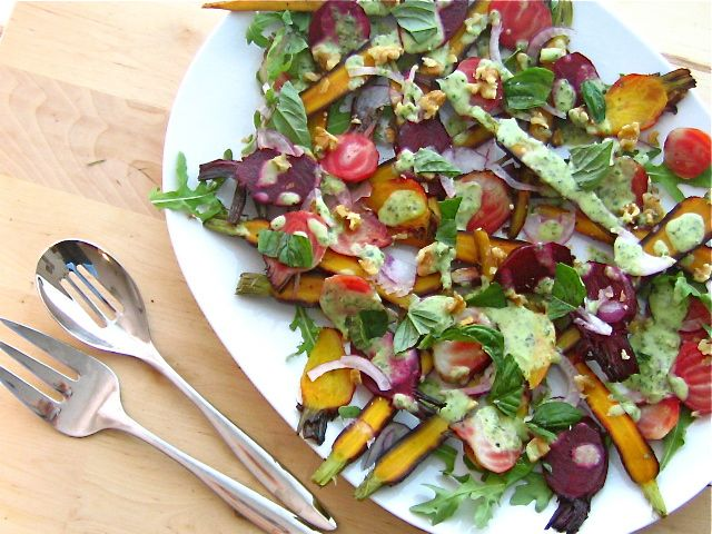 Honey Glazed and Roasted Beets and Carrots with a Lemon Basil Dressing ...