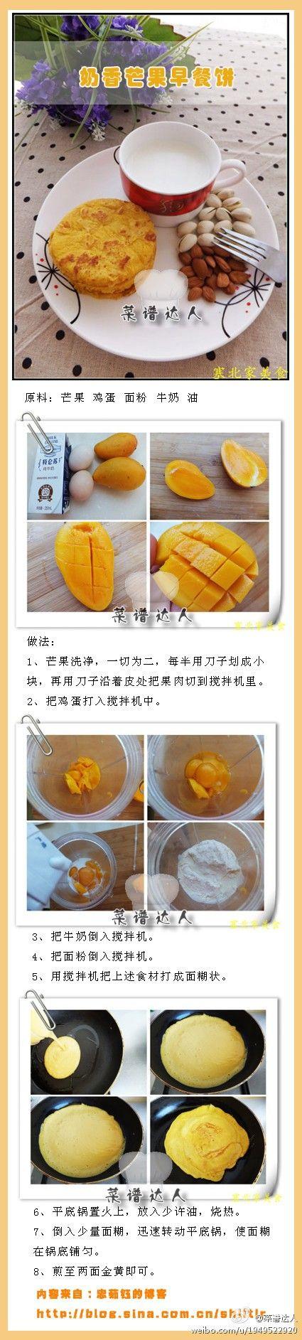 Mango pancake | Hearty Breakfast | Pinterest