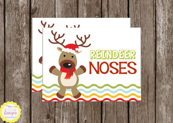 "PRINTABLE Treat Bag Toppers ""Reindeer Noses"" by HilltopCustomDesigns ..."