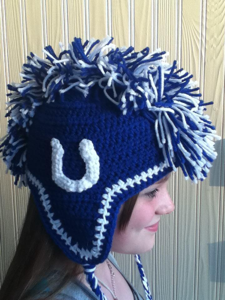 Crochet Mohawk : crochet hat mohawk. Colts Crochet Hats Pinterest