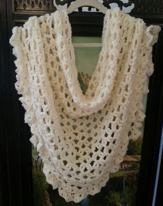 Lace Triangle Shawl Crochet Pattern : Crochet Pattern Lace Shawl Bridal Shawl Wrap