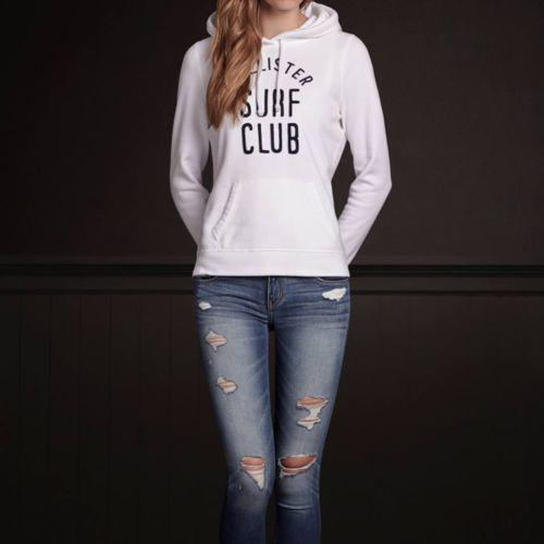NWT women's Hollister HCO Ponto Beach hoodie sweater White Medium