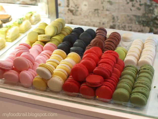 Macaron flavours ($2 each), clockwise from back left: mint & lemon ...