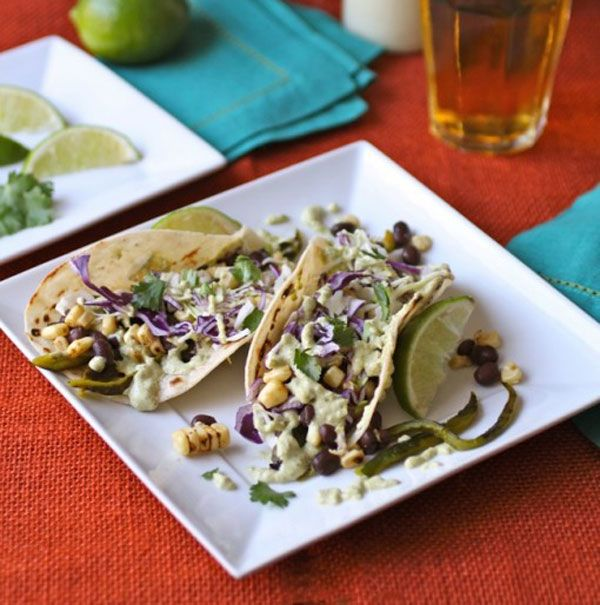 Grilled Corn, Poblano, and Black Bean Tacos with Creamy Poblano Sauce ...