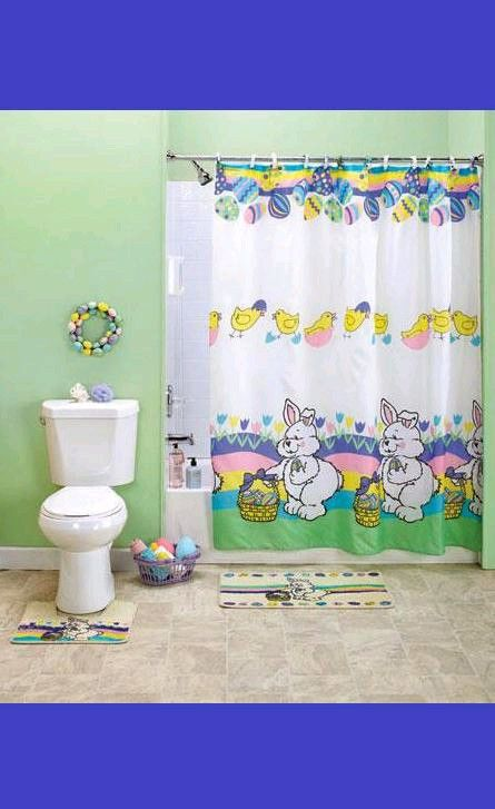 CUTE 15 Pieces Easter Bunnies Shower Curtain Shower Hooks Bath Mat Co ...