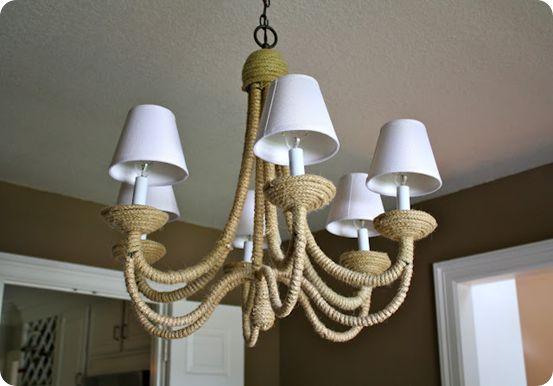 jute wrapped chandelier