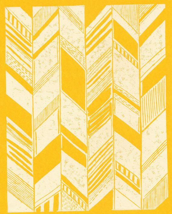 yellow and white herringbone print. by SchatziBrown on etsy.