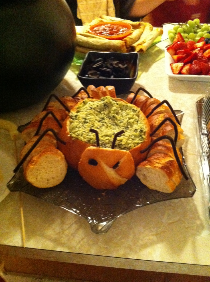 artichoke dip in a spider bread bowl made by my friend tracy