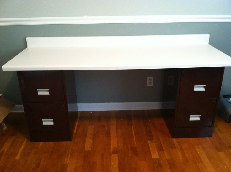 recycled filing cabinets into new desk love our diy customized