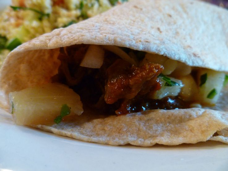 Smoky chipotle shredded beef tacos with pineapple salsa- a great way ...