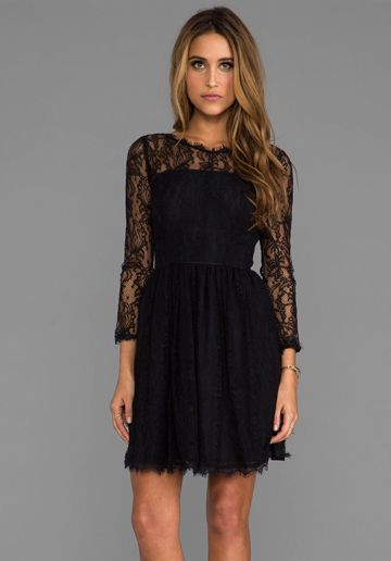 Delicate Lace Dress in Pitch Black - Juicy Couture