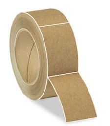 rectangle kraft labels in a roll.
