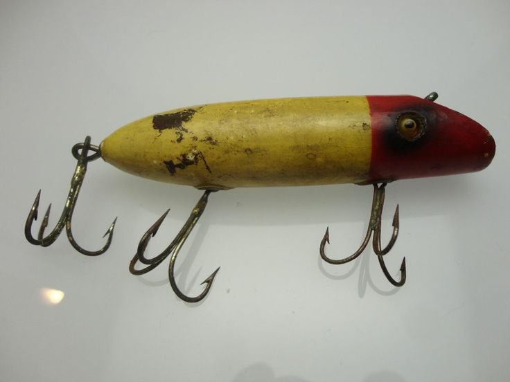 Antique 1920 39 s heddon fishing lure dowagiac minnow yellow for Old fishing lures on ebay