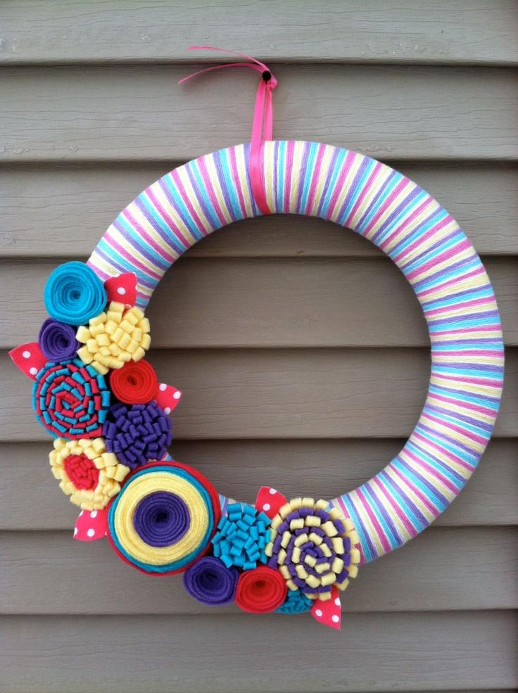 Wreath - Multi-color Spring Yarn Wreath w/ Felt Flowers. Yarn Wreath ...