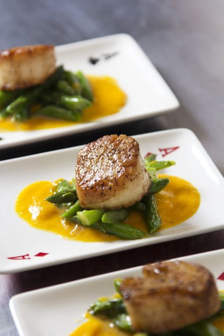 ... on the blog: Seared Scallops with Marjoram carrot sauce and asparagus