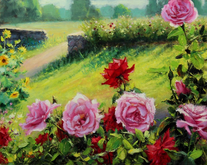 Bill Inman~ Perfect Picnic Place 16x20 Roses Oil Painting