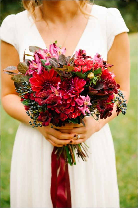 earthy ruby red bouquet #bride #bouquet #weddingchicks http://www.weddingchicks.com/2014/03/13/intimate-earthy-wedding/