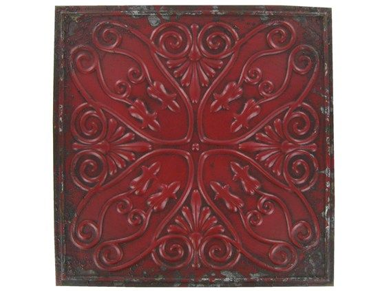 Distressed Metal Wall Decor : Distressed red metal wall decor plaque for the home