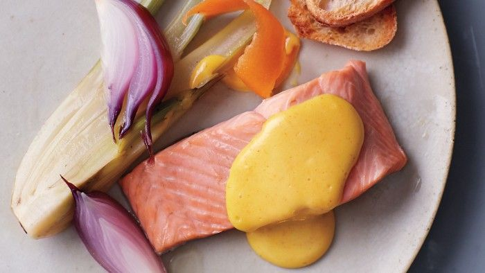 Poached Salmon with Grapefruit Olive Oil Hollandaise Sauce and more at ...