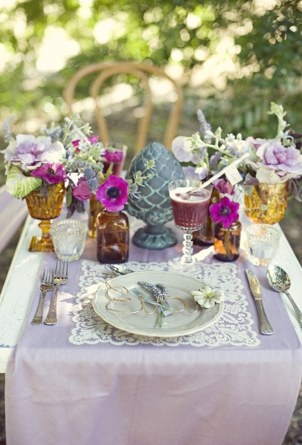 A garden party tablescape in purple.
