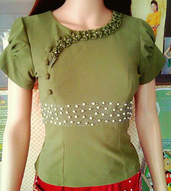 Myanmar fashion blouse peach chevron blouse for Myanmar wedding dress price