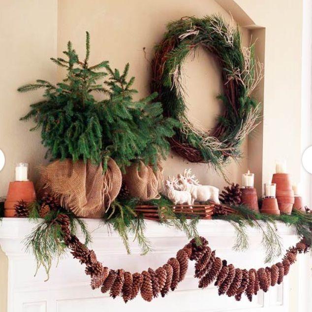 Natural Mantle Christmas Decoration | Christmas pretties | Pinterest
