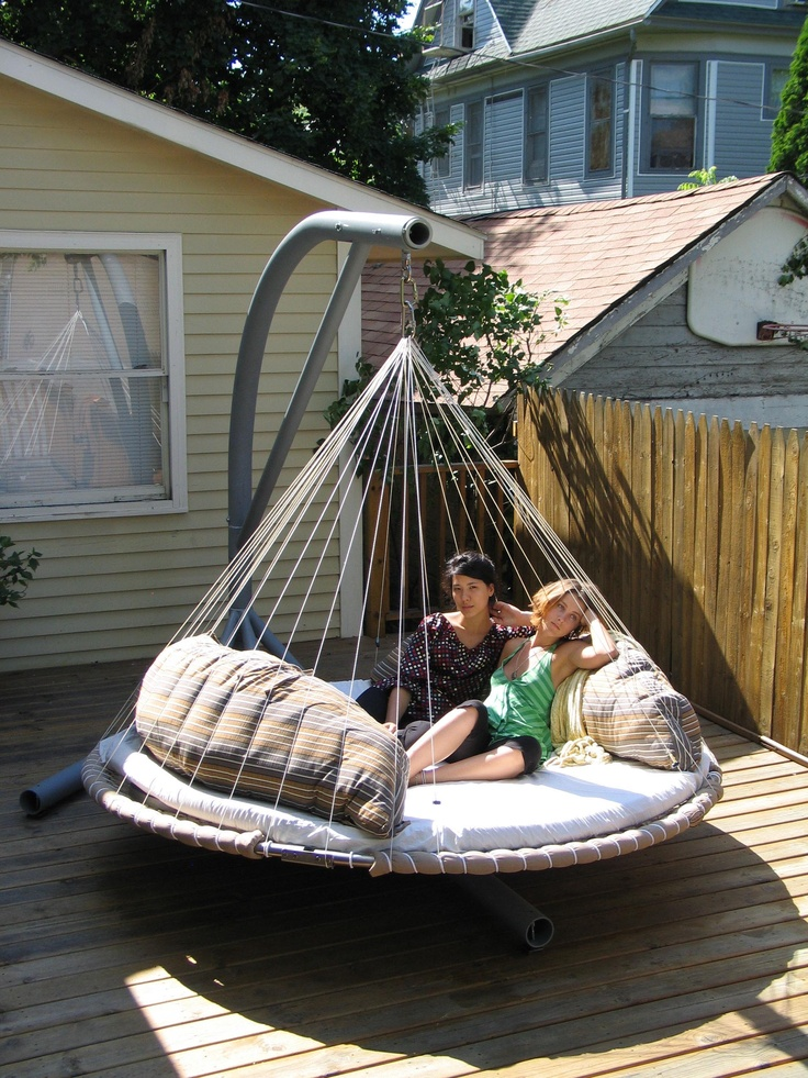Relaxing with backrest pillows in floating bed with for Outdoor hanging beds for sale