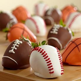 sports themes chocolate covered strawberries