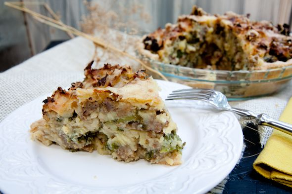 sausage, kale and mashed potato pie from back to her roots