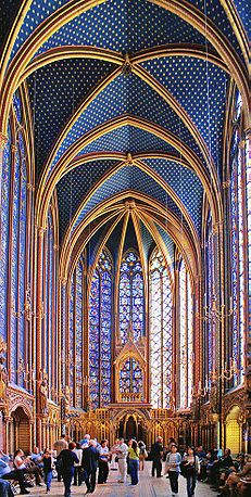 The upper chapel of the Sainte Chapelle, restored by Eugène Viollet-le-Duc in the 19th century