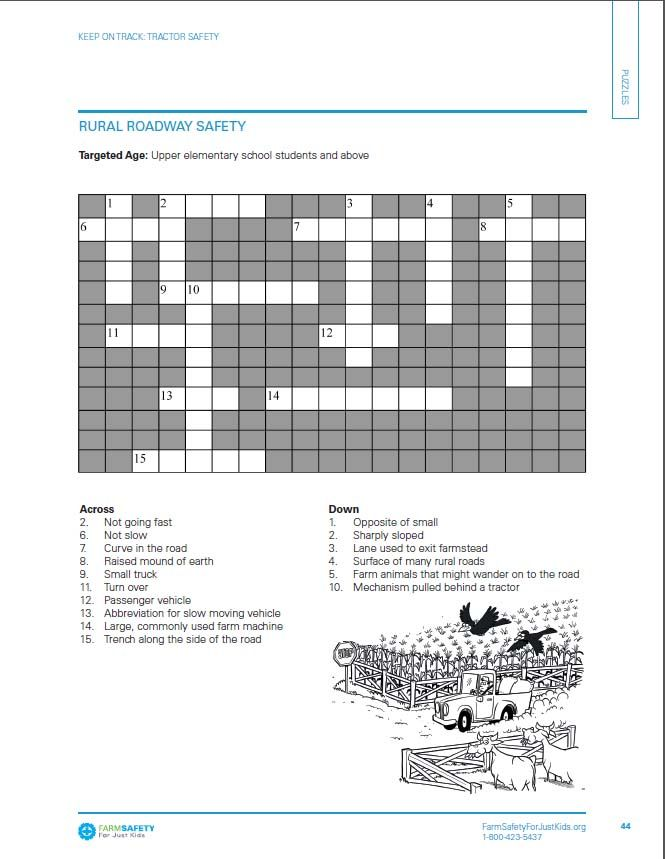 Safety crossword puzzle from our tractor safety packet find more at