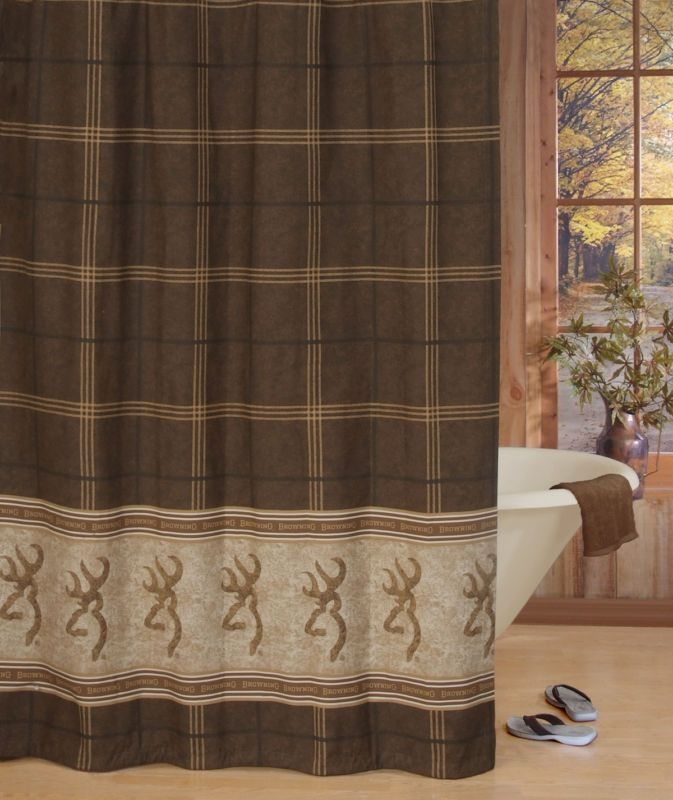 Browning buckmark brown fabric shower curtain single panel 72 quot x 72 quot