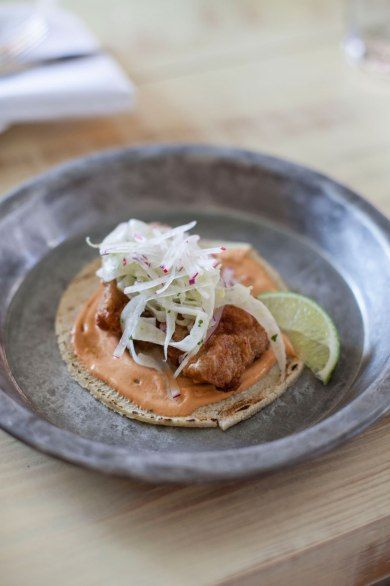FRIED APALACHICOLA OYSTER TACOS WITH CHIPOTLE CREMA AND FENNEL SLAW